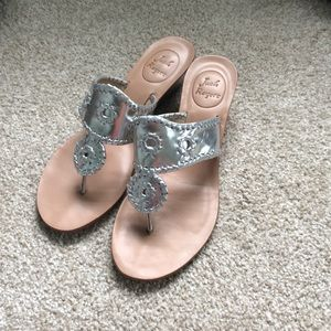 Jack Rogers silver mini wedge sandals
